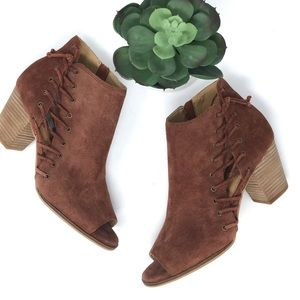 Lucky Brand Hartlee Suede Leather Stacked Bootie